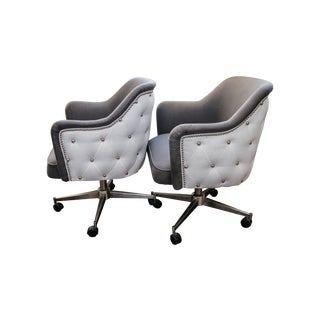 Reupholstered Mid-Century Office Chairs - A Pair