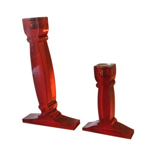Mod Red Lucite Candlesticks - A Pair