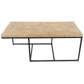 Modern Iron & Distressed Wood Coffee Table