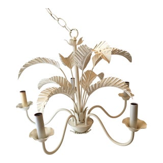 Hollywood Regency Tole Palm Chandelier