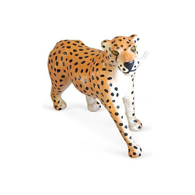 1970s Hand-Painted Leather Cheetah Figurine - Image 2 of 4