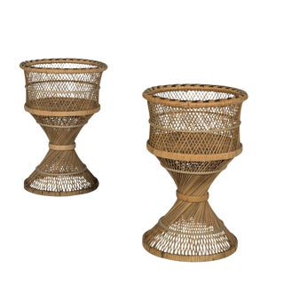 Rattan Wicker Plant Stands - A Pair