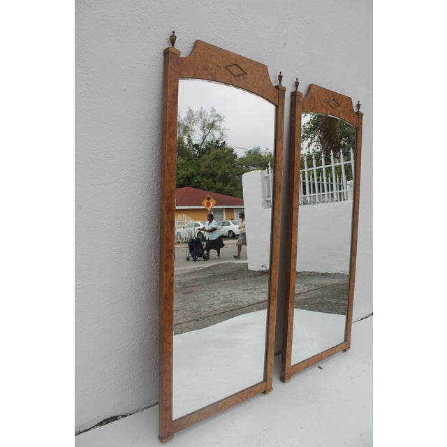 Image of Burlwood & Brass Wall Mirrors - A Pair