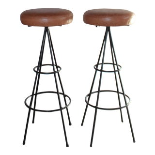 Pair of Mid-Century Modern English Pub Bar Stools Circa 1950s