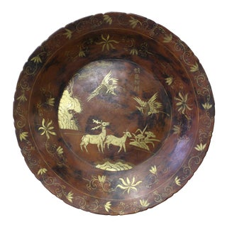 Chinese Hand Painted Golden Deer Scene Lacquer Display Disc Plate