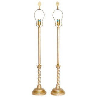 Pair of Silver Gilt Candlestick Lamps