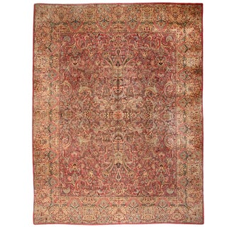 Extremely Finely Woven Antique Persian Lavar Kerman Carpet