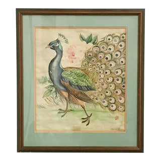 Antique Painted Asian Drawing - Peacock Plume