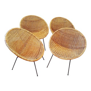 Petite Rattan and Iron Hoop Chairs - Set of 4