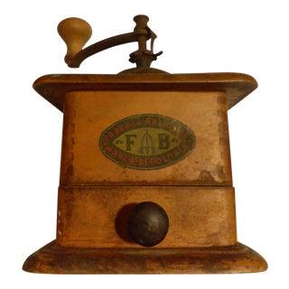 Antique Italian Wooden Coffee Grinder - Fabrica Nazionale Fb Marca Deposita