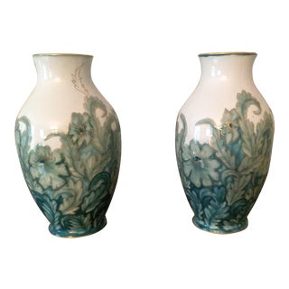 Camille Tharaud Limoges Green Floral Porcelain Vases - a Pair