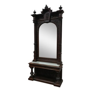 19th Century Monumental Highly Carved Walnut & Marble Top Console Mirror