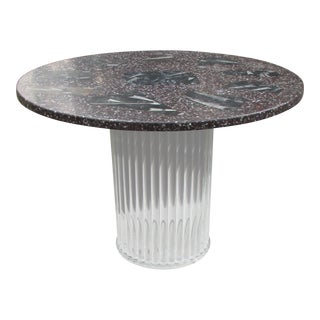 Mid-Century Modern Fossil Stone & Lucite Center Table