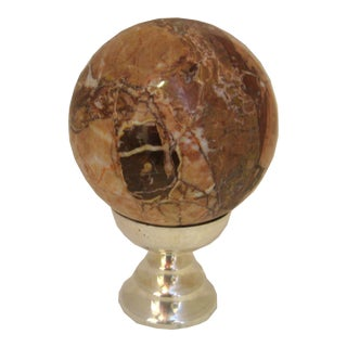 Large Marble Ball on Silver Stand