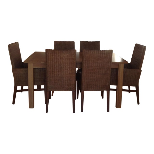 Ethan Allen Parsons Table With 6 Woven Wicker Chairs