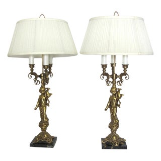 Vintage Brass Cherub Lamps - A Pair