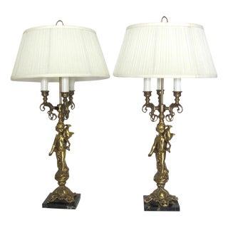 Vintage Brass Cherub Lamps - A Pair