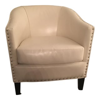 Ivory Leather Tub Chair