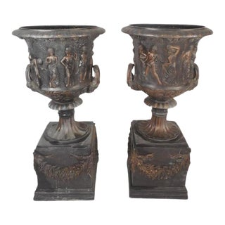 Medici Style Bronze Urns - a Pair