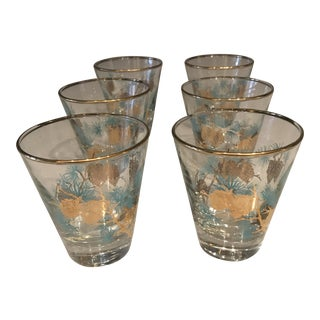 Vintage Turquoise & Gold Highball Glasses - Set of 6