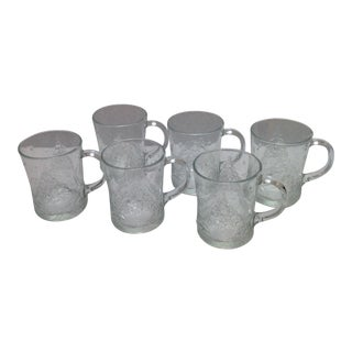 Vintage Clear Glass Christmas Tree Mugs - S/6