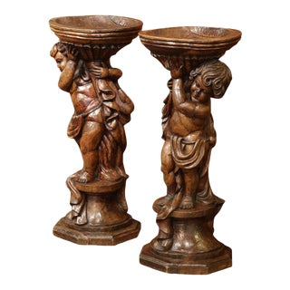 18th Century French Hand-Carved Walnut Jardinieres - A Pair