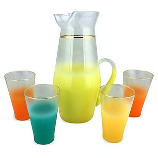 Mid-Century Colored Pitcher & Glasses - Set of 5