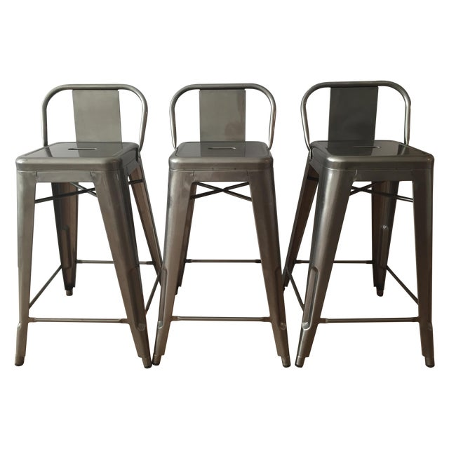 Tolix-Inspired Industry West Metal Counter Stools - Set of 3 - Image 1 of 7
