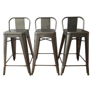 Tolix-Inspired Industry West Metal Counter Stools - Set of 3