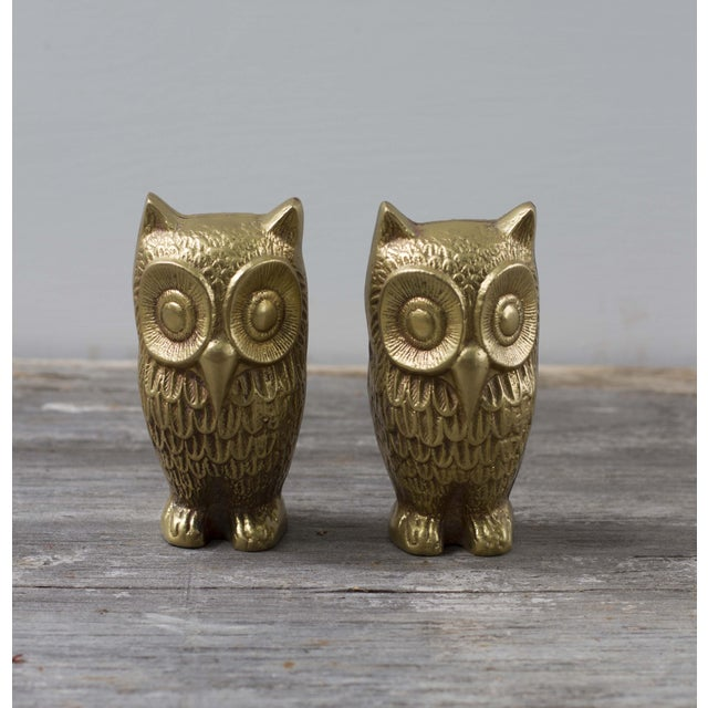 Brass Plated Owl Figurines - A Pair - Image 2 of 7