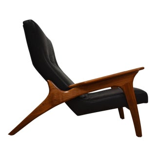 Adrian Pearsall Black Leather Lounge Chair