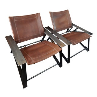 Frank Voznak Leather & Steel Chairs - A Pair