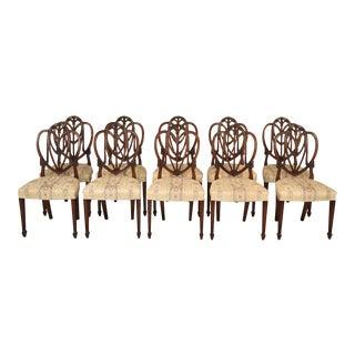 Vintage Mahogany Shield Dining Chairs - Set of 10