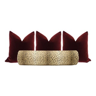 Antelope Bolster and Oxblood Velvet Pillows - Set of 4