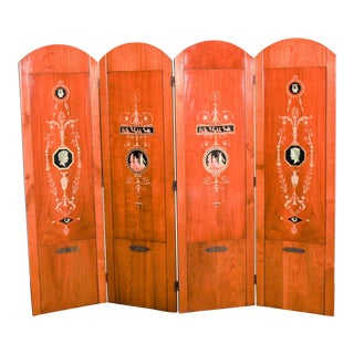 Italian Hand-Painted Fruitwood Screen - 4 Panels