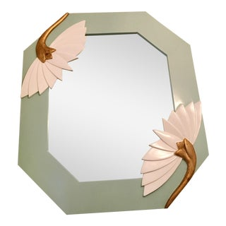 Mid-Century Carved Lotus Flower Mirror