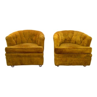 Barker Bros. Chartreuse Boucle Tub Chairs - A Pair