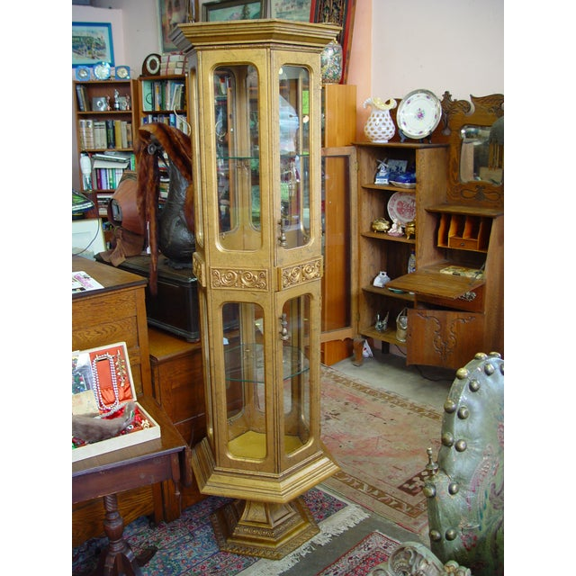 Hollywood Regency Gold Painted Curio Cabinet - Image 2 of 5