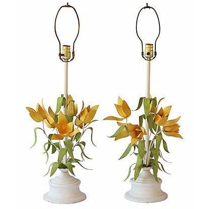 Italian Tole Floral Lamps - Pair - Image 1 of 3