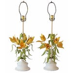 Image of Italian Tole Floral Lamps - Pair