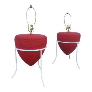 Vintage Red & White 2 Part Table Lamps - a Pair
