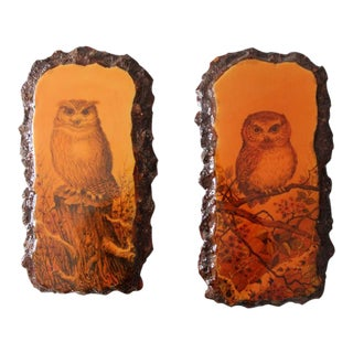 Mid-Century 1970s Owl Painting on Lacquered Wood - A Pair