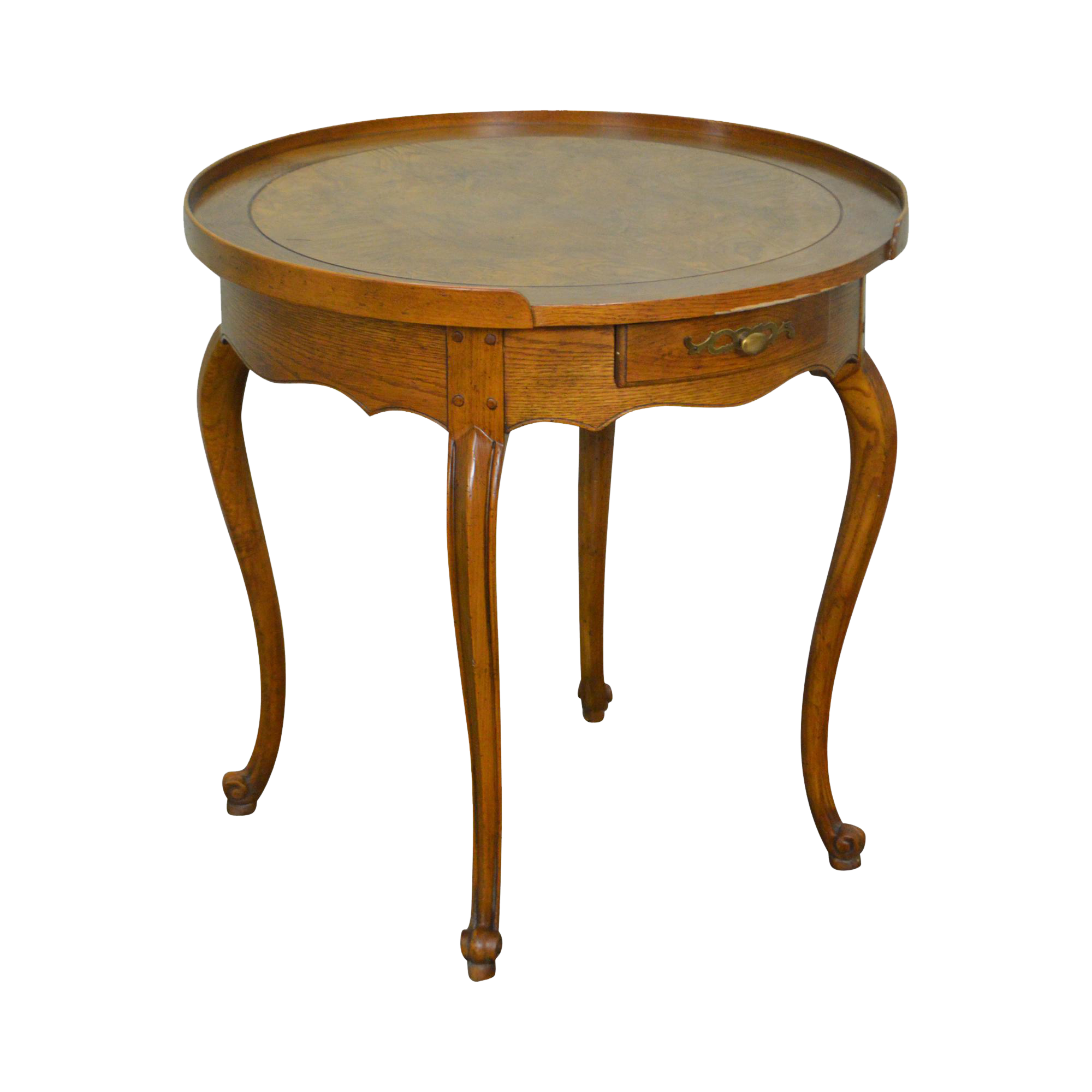 Baker French Louis XV Style Burl Wood Round Top 1 Drawer Side Table