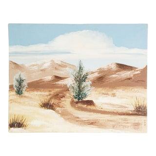 Vintage Desert Landscape Oil Painting