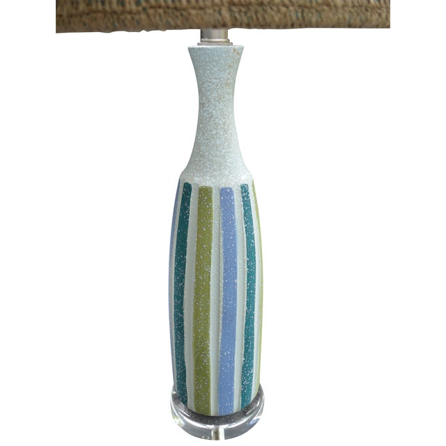 Image of Vintage Mid-Century Striped Ceramic Lamps - A Pair