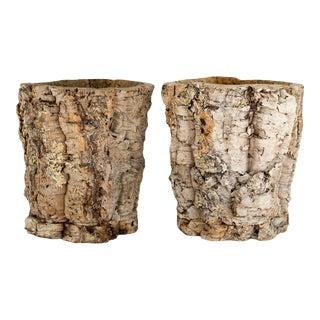 Natural Organic Modern Cork Planters - a Pair