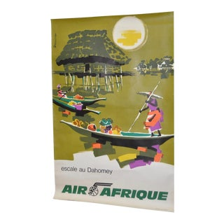 "Vintage ""Air Afrique"" French Travel Poster Circa 1960"