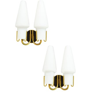 Arlus Mid-Century French Brass Sconces - A Pair