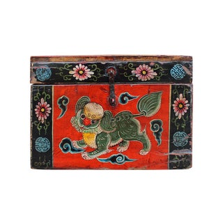 Vintage Chinese Red Foo Dog Theme Trunk