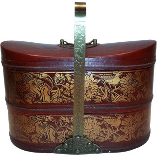 Vintage Chinese Leather Basket